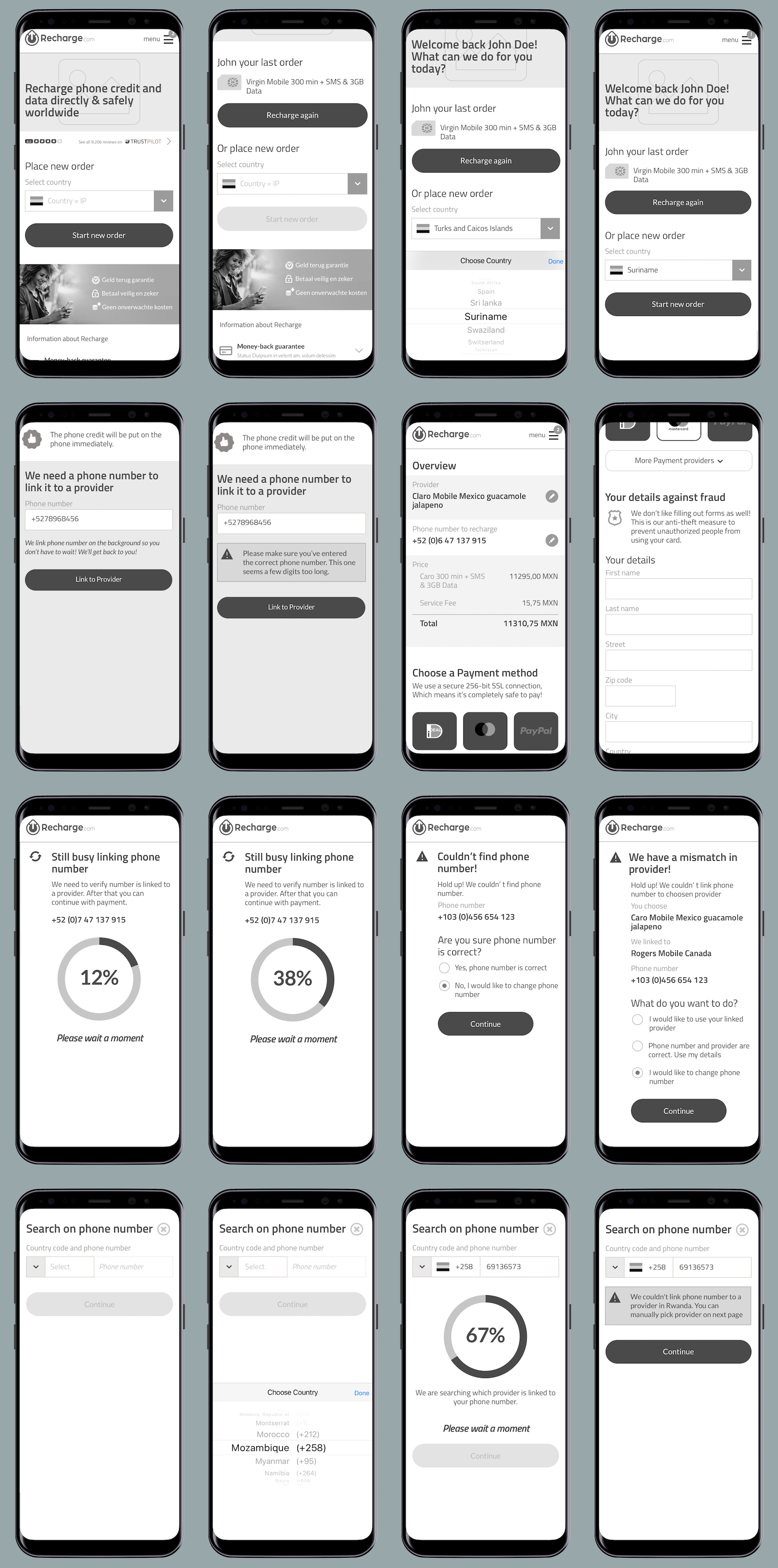 Afbeelding met wireframes funnel voor mobile devices