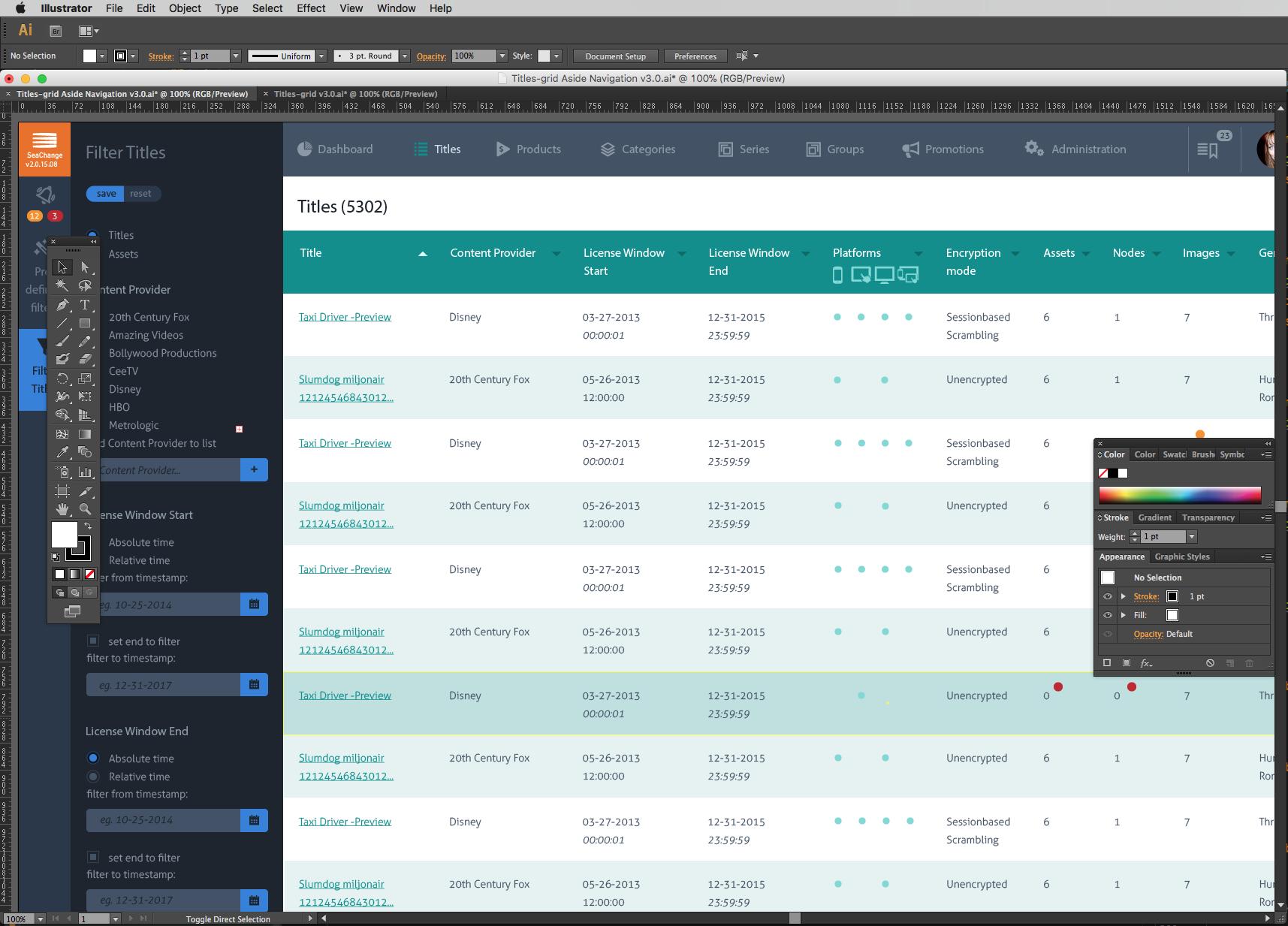 Design voor desktop van BMS2 met Faceted Search geactiveerd