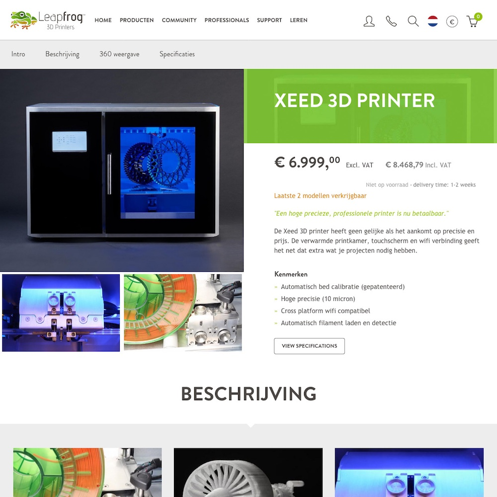 Screendump e-commerce omgeving 3D-printerfabrikant Leapfrog